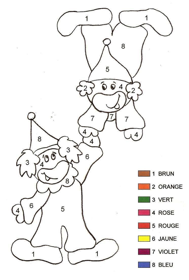 Coloriage Magique - Clown 2 Maternelle à Coloriage Magique Grande Section Maternelle