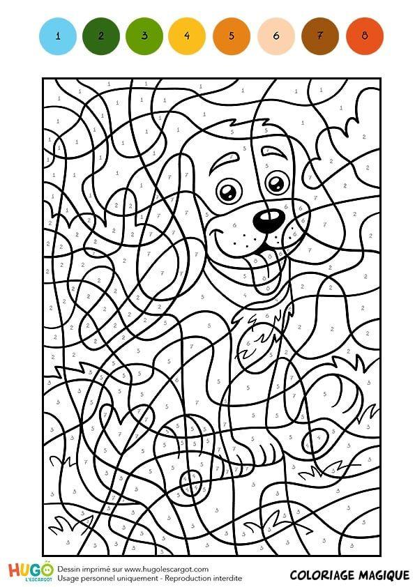 Coloriage Magique Cm1, Un Petit Chien Assis (Avec Images pour Coloriage À Imprimer Avec Code Couleur