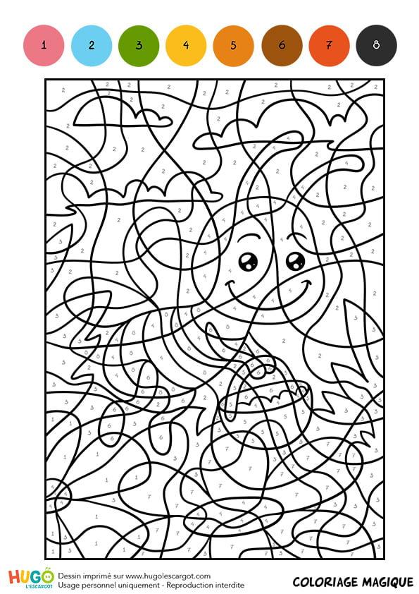 Coloriage Magique Cm1, Une Abeille Butineuse intérieur Coloriage Magique