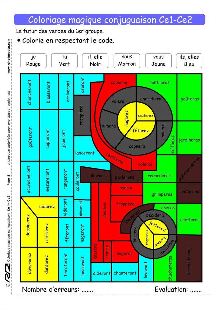 Coloriage Magique Conjugaison Ce1-Ce2 - Le Blog De Delphine à Coloriage Magique Maths Ce2