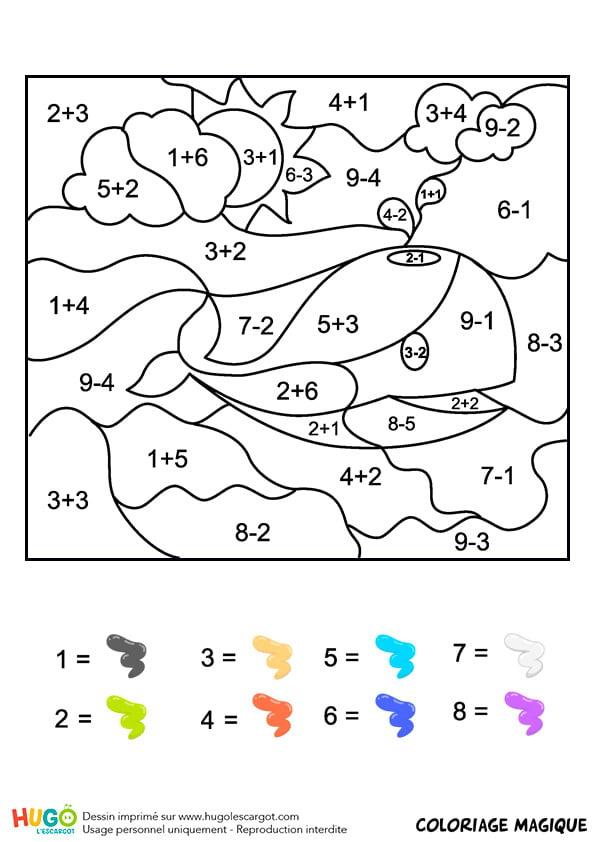 Coloriage Magique Cp : Une Baleine intérieur Coloriage Magique Addition Maternelle