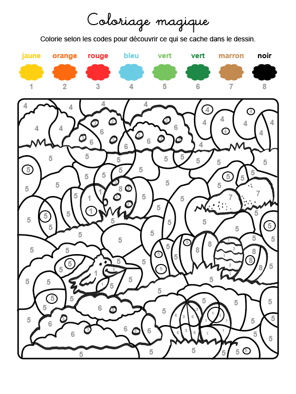 Coloriage Magique De Pâques concernant Coloriage Par Numéro En Ligne