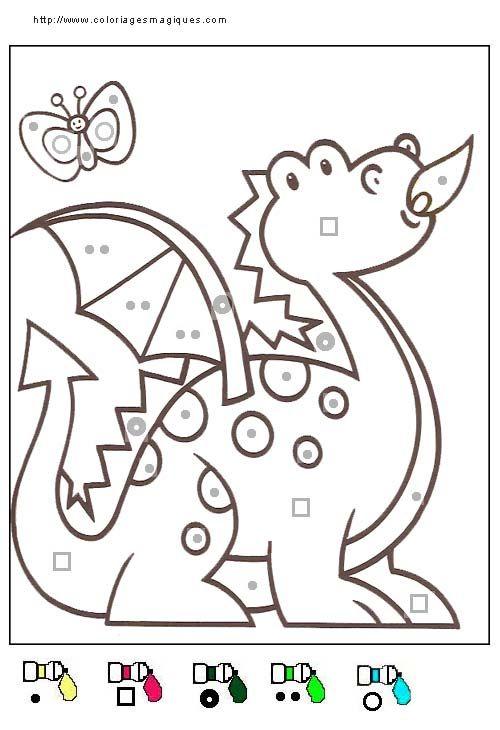 Coloriage Magique Dragon, Niveau Maternelle | Ecole Tap pour Coloriage Numéroté Maternelle