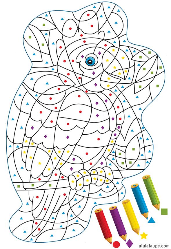 Coloriage Magique Gratuit, Un Perroquet   Coloriage à Coloriage Avec Chiffre A Imprimer