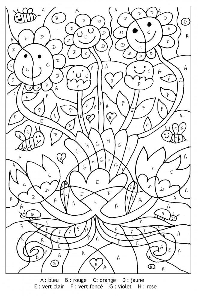 Coloriage Magique Lettres Les Fleurs Dessin Gratuit À Imprimer destiné Coloriage Numéroté À Imprimer