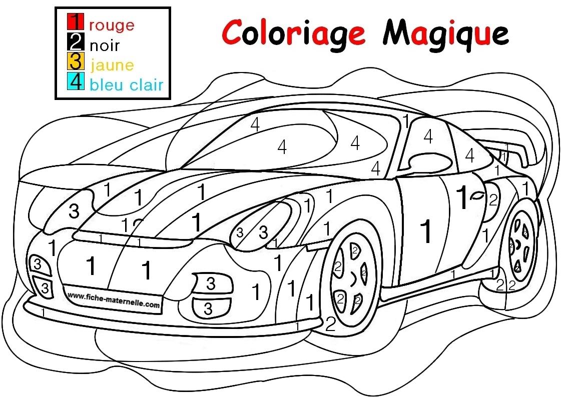 Coloriage Magique Pour Les Plus Petits : Une Auto à Coloriage Moyenne Section À Imprimer