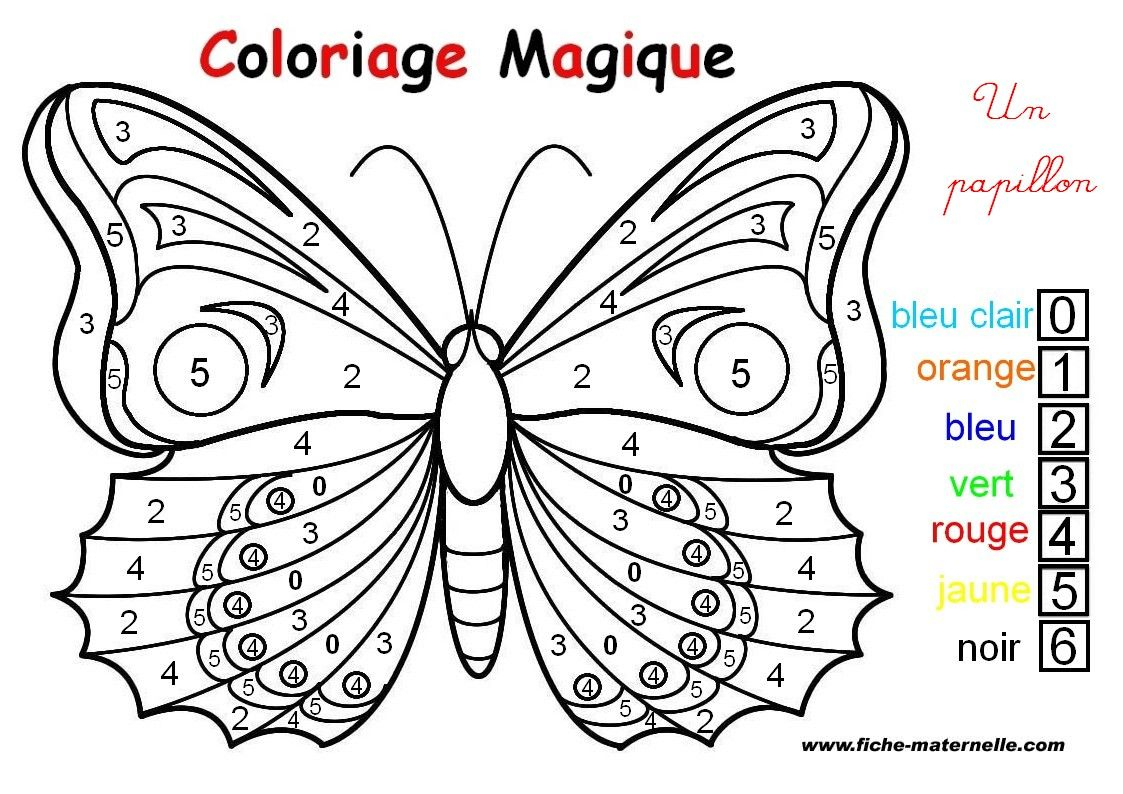 Coloriage Magique : Un Papillon | Coloriage Papillon destiné Papillon Dessin Facile