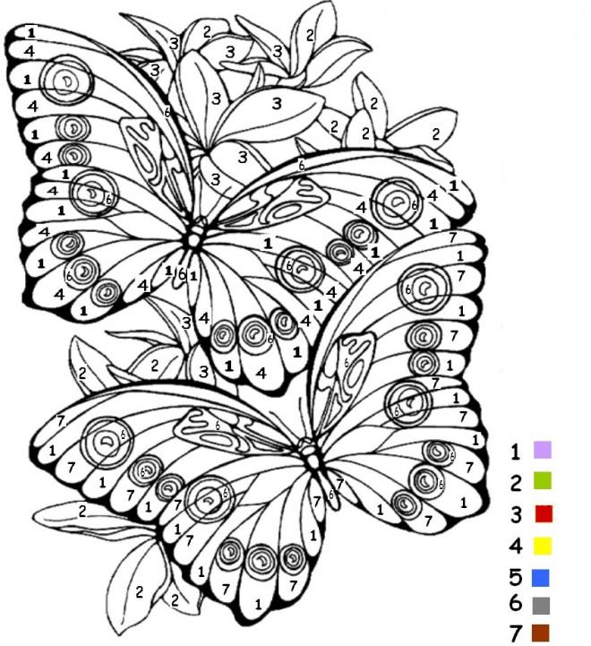 Coloriage Magiques Chiffres Papillons Dessin Gratuit À à Coloriage De Papillon A Imprimer Gratuit