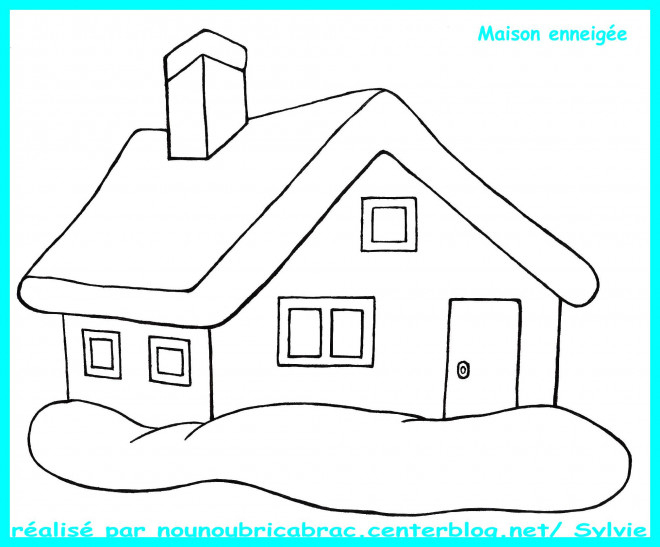 Coloriage Maison Enneigée Dessin Gratuit À Imprimer destiné Dessin Maison Facile