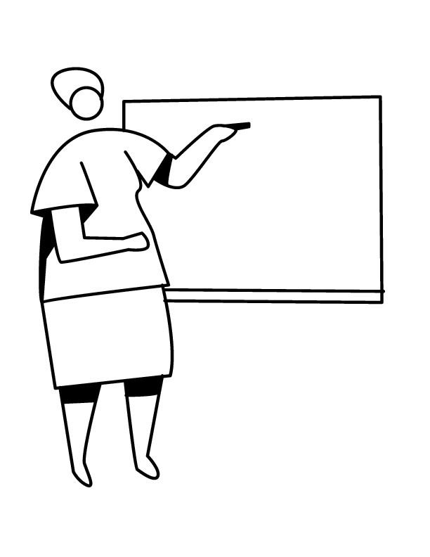 Coloriage Maîtresse D'École Facile Dessin Gratuit À Imprimer destiné Dessin Maitresse