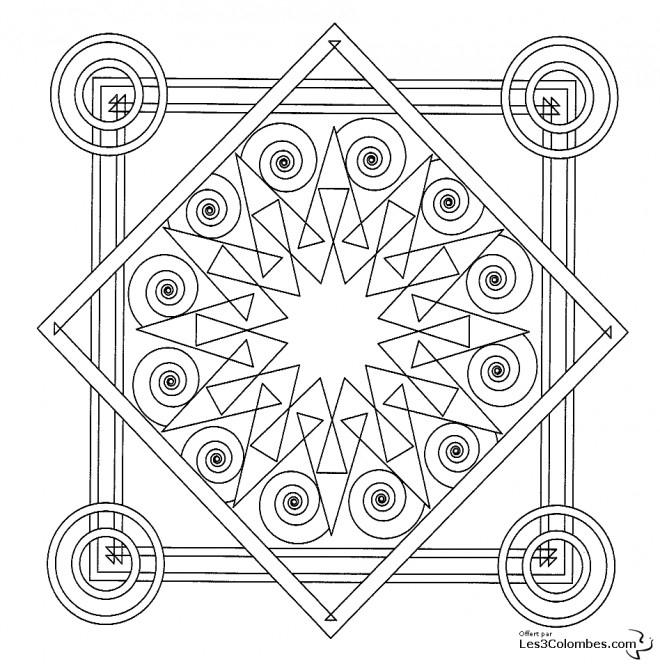 Coloriage Mandala Carreau Adulte Dessin Gratuit À Imprimer pour Mandala A Dessiner