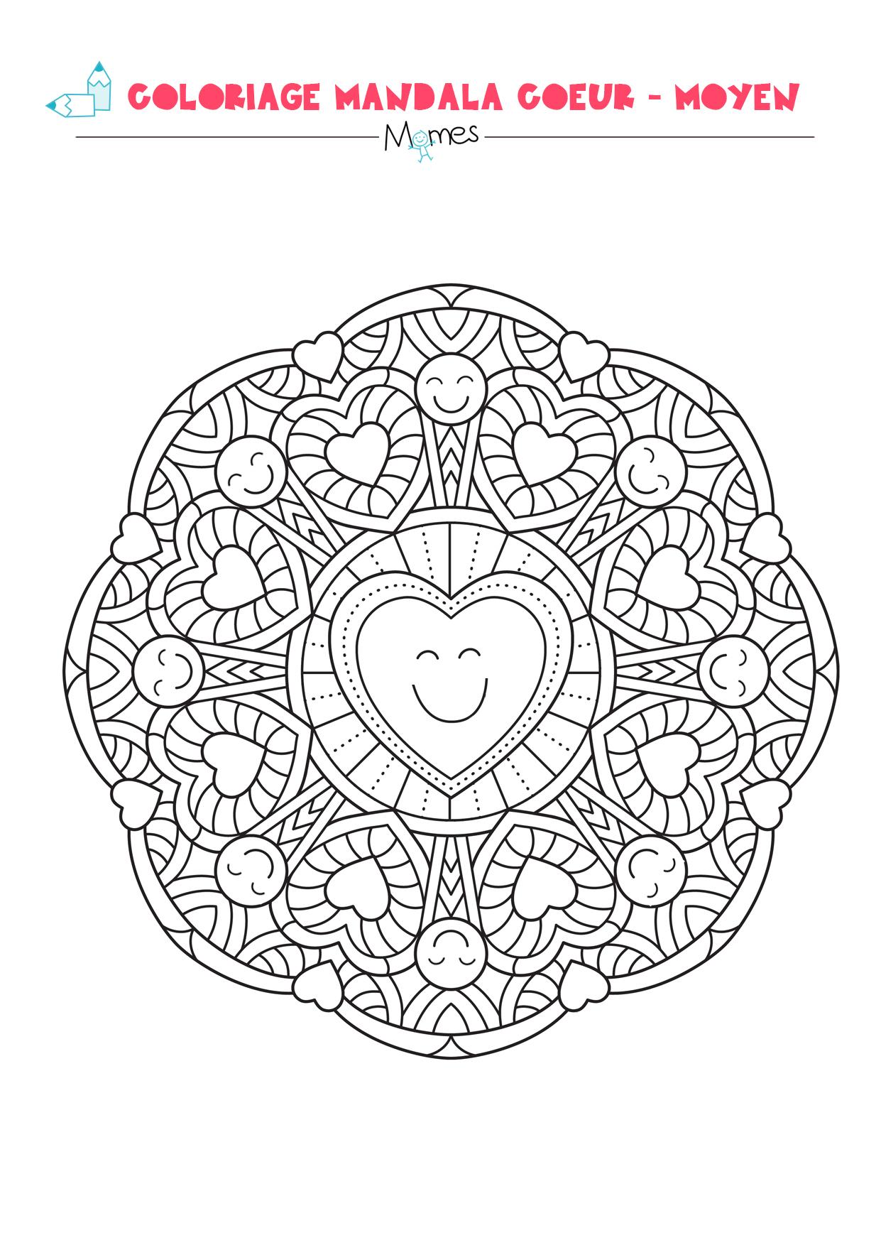 Coloriage Mandala Coeur - Moyen - Momes concernant Coloriage Mandale