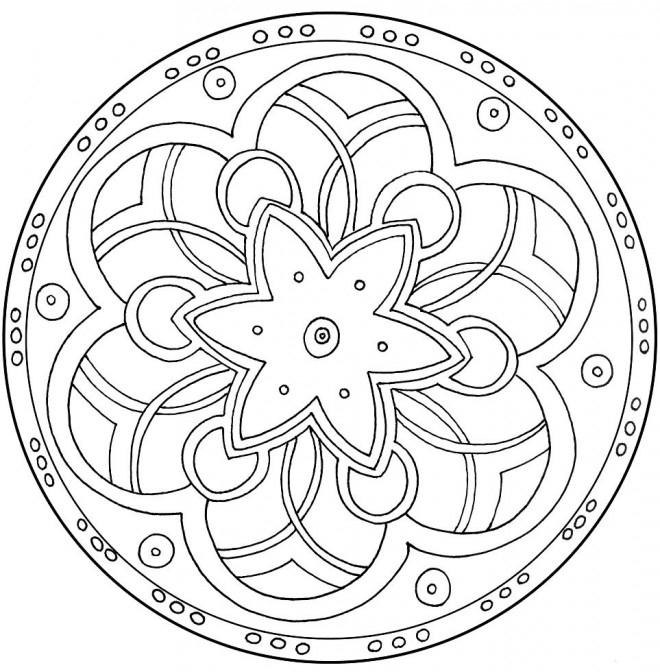 Coloriage Mandala Facile Magique Dessin Gratuit À Imprimer à Mandala Facile A Dessiner