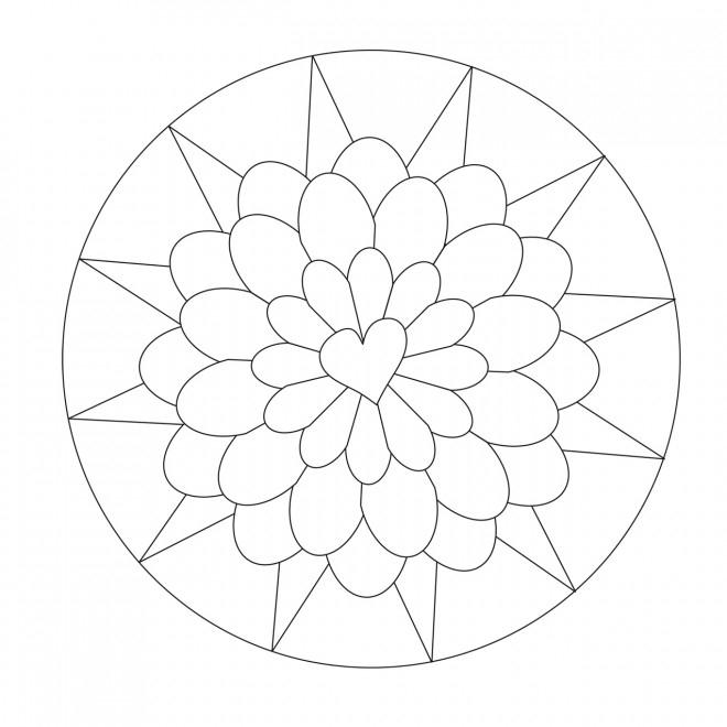 Coloriage Mandala Facile Pour Enfant Dessin Gratuit À Imprimer intérieur Mandala Facile A Dessiner