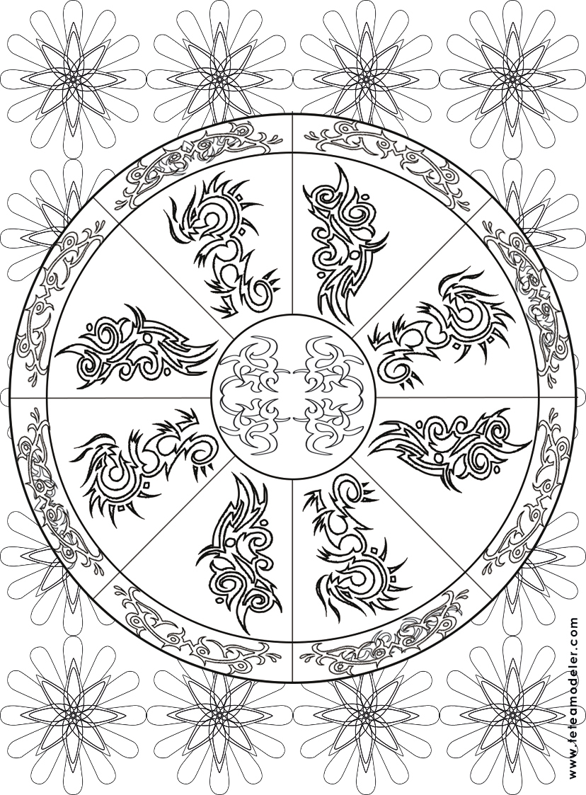 Coloriage Mandala Feuilles. Coloriage Mandala Carre Par destiné Jeux De Coloriage Mandala