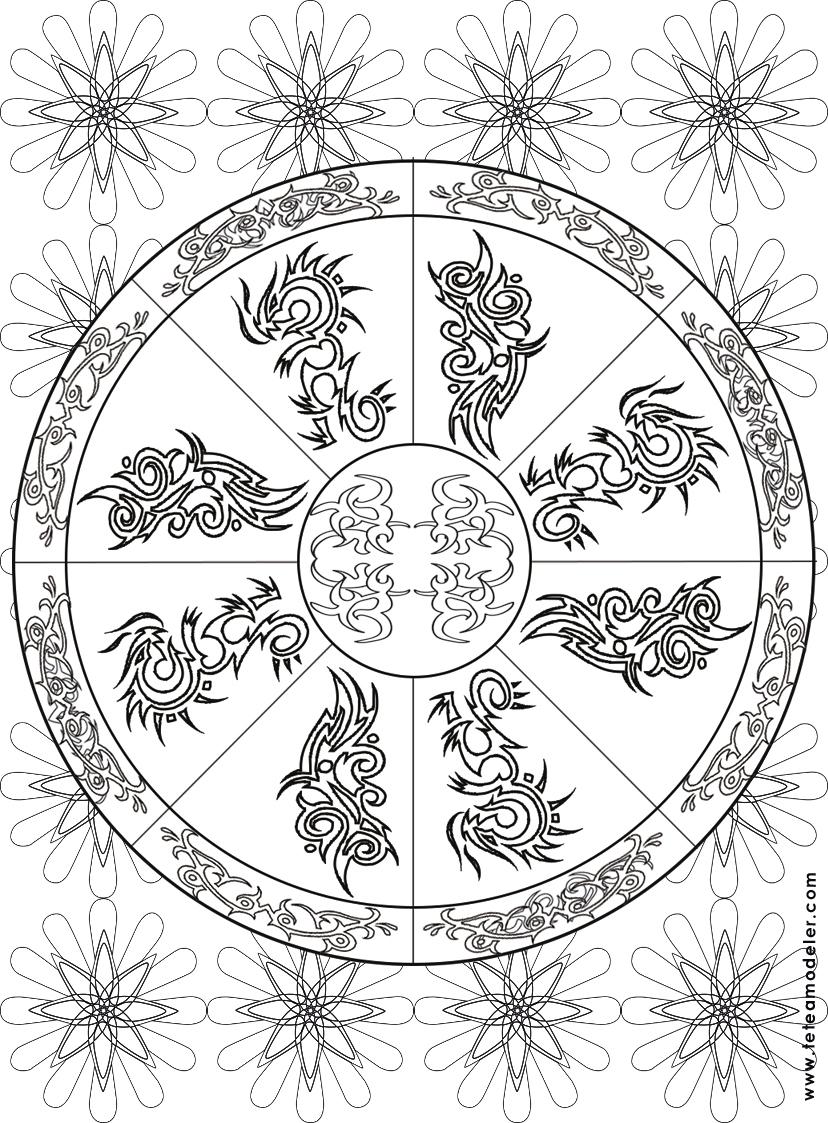 Coloriage Mandala Motif Tribal concernant Coloriage Mandale