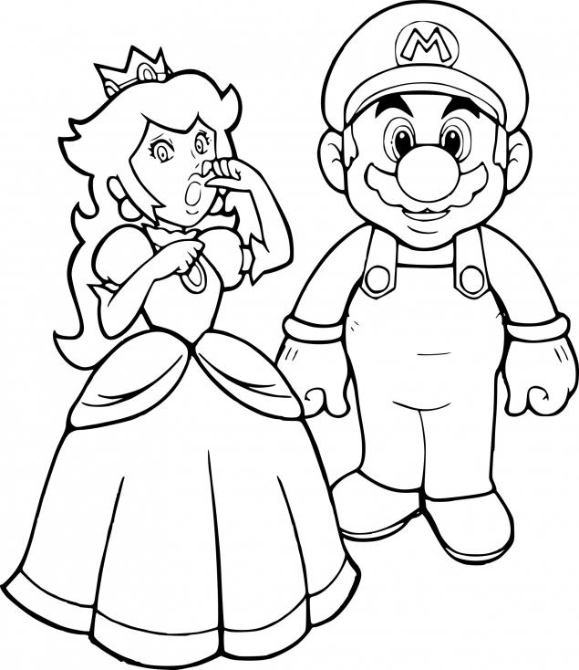 Coloriage Mario Et Peach À Imprimer concernant Coloriage De Mario Et Luigi
