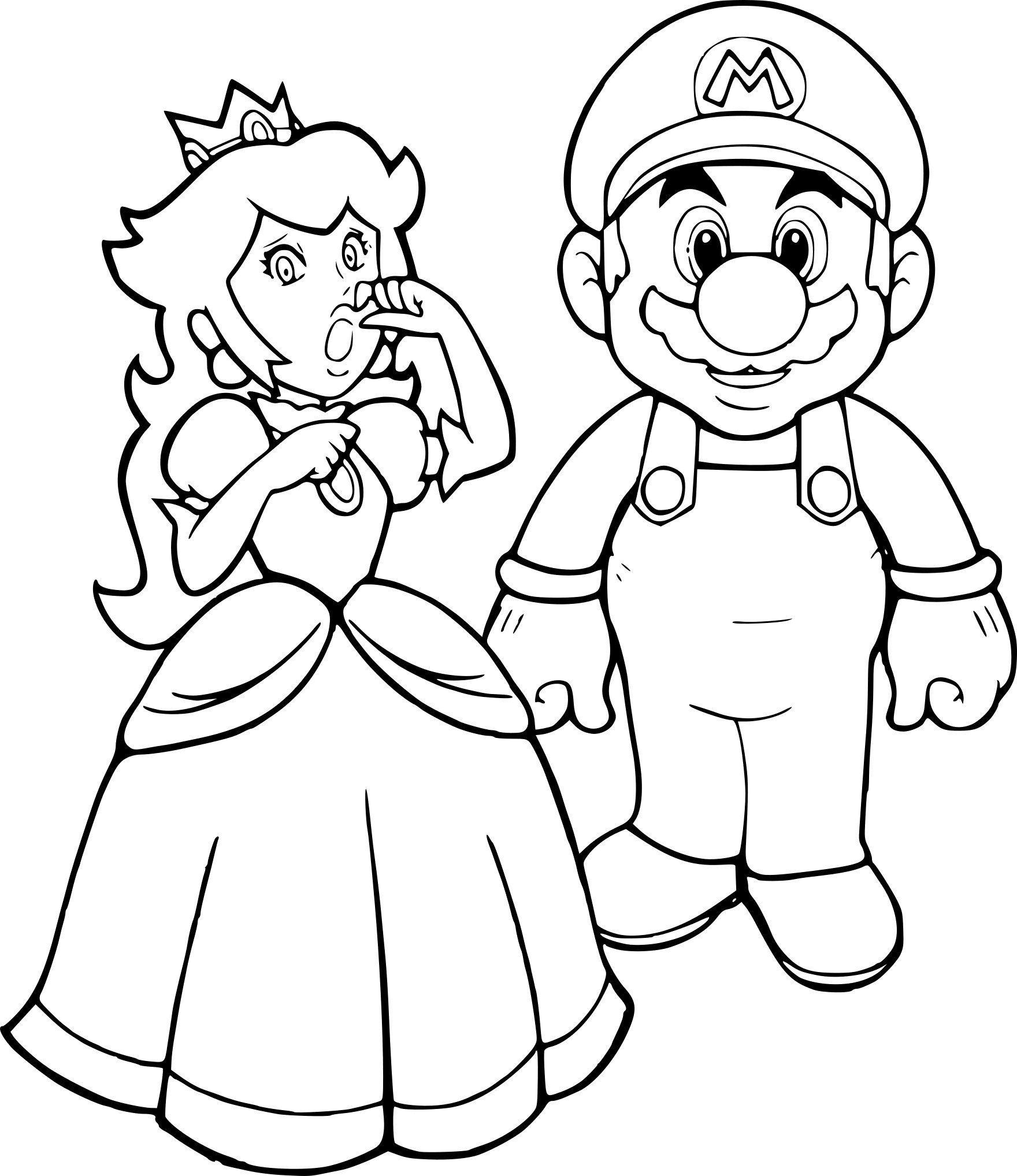 Coloriage Mario Et Peach À Imprimer dedans Coloriage Mario