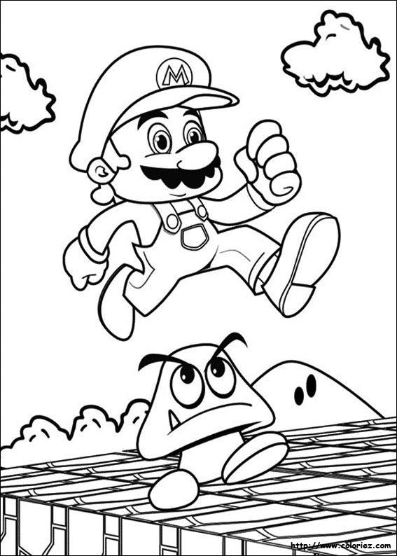 Coloriage - Mario Saute tout Coloriage Mario
