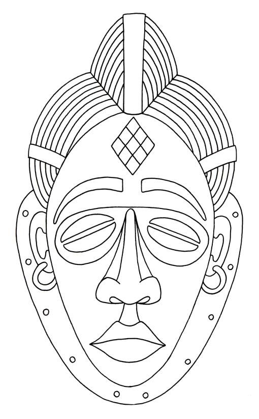 Coloriage «Masque Africain» | Art Africain Traditionnel destiné Dessin Masque Africain