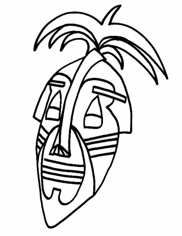 Coloriage Masque Africain En Ligne Dessin Gratuit À Imprimer avec Dessin Masque Africain