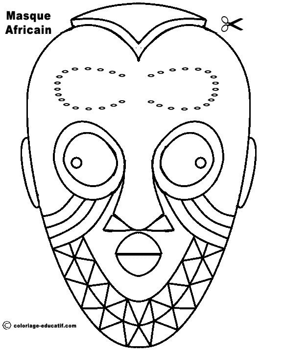 Coloriage Masque Africain Pour Découpage Dessin Gratuit À pour Dessin Masque Africain
