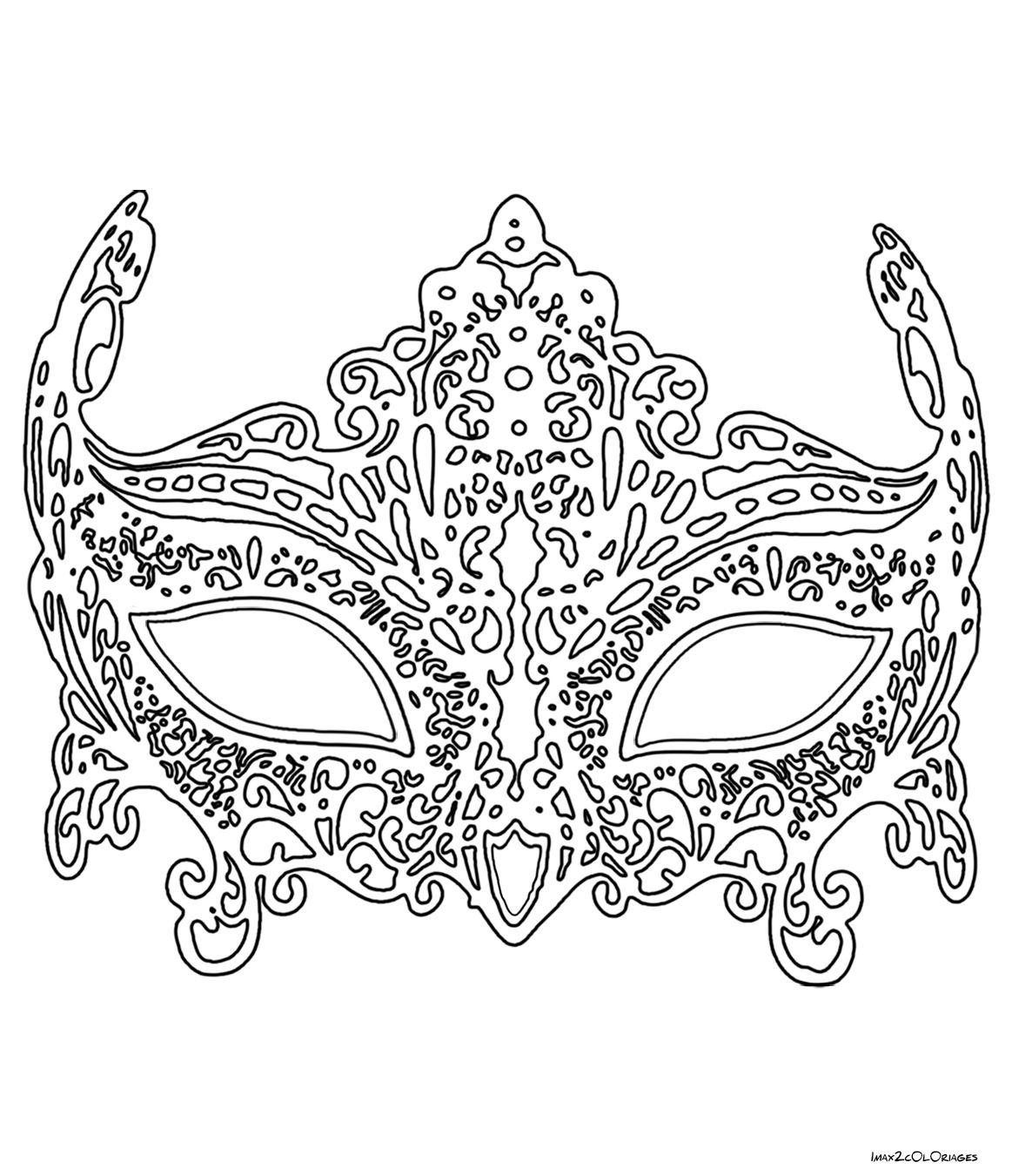Coloriage Masque De Venise En Dentelle | Coloring Pages destiné Dessin Carnaval A Imprimer