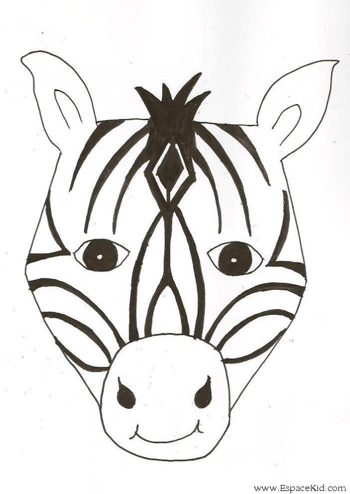 Coloriage Masque Zebre À Imprimer Dans Les Coloriages concernant Masque D Animaux À Colorier