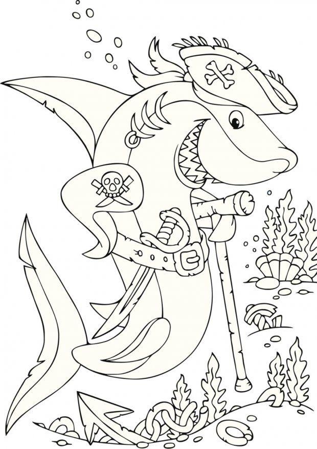 Coloriage Mer : Le Requin Pirate | Векторные Иллюстрации pour Coloriage Requin