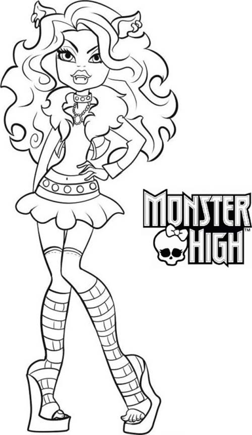 Coloriage Monster High Clawdeen Wolf A Imprimer avec Coloriage Monster High A Imprimer
