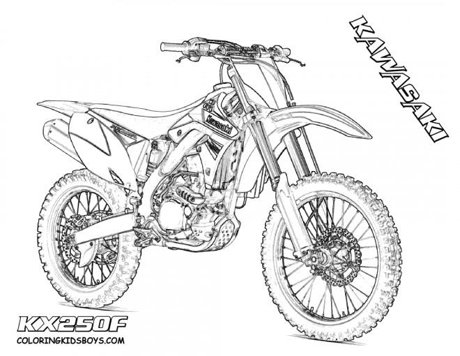 Coloriage Motocross Kawasaki Pour Spectacle Dessin Gratuit dedans Dessin De Moto Ktm