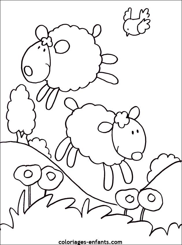 Coloriage Mouton Et Berger avec Coloriage Mouton À Imprimer