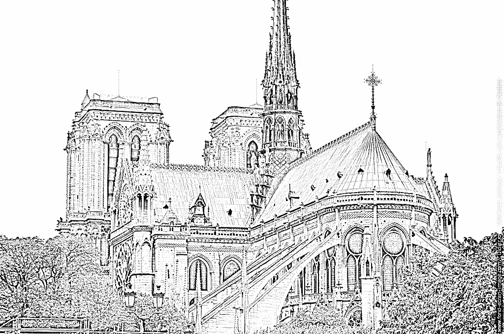 Coloriage Notre Dame De Paris 01 À Imprimer Pour Les serapportantà Coloriage Notre Dame De Paris