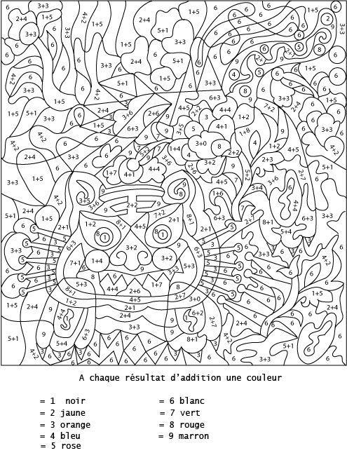 Coloriage Numéroté Et Addition : Additionner Pour Colorier encequiconcerne Coloriage Avec Addition