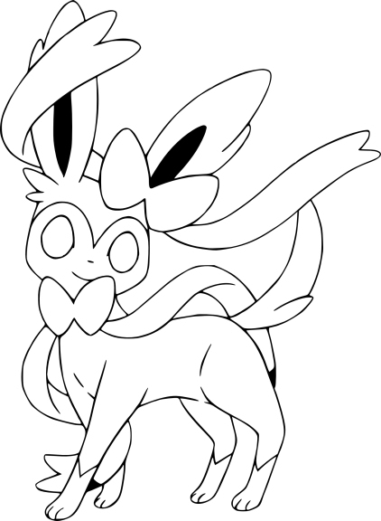 Coloriage Nymphali Pokemon X Et Y Gratuit À Imprimer destiné Coloriage Pokemon Evoli