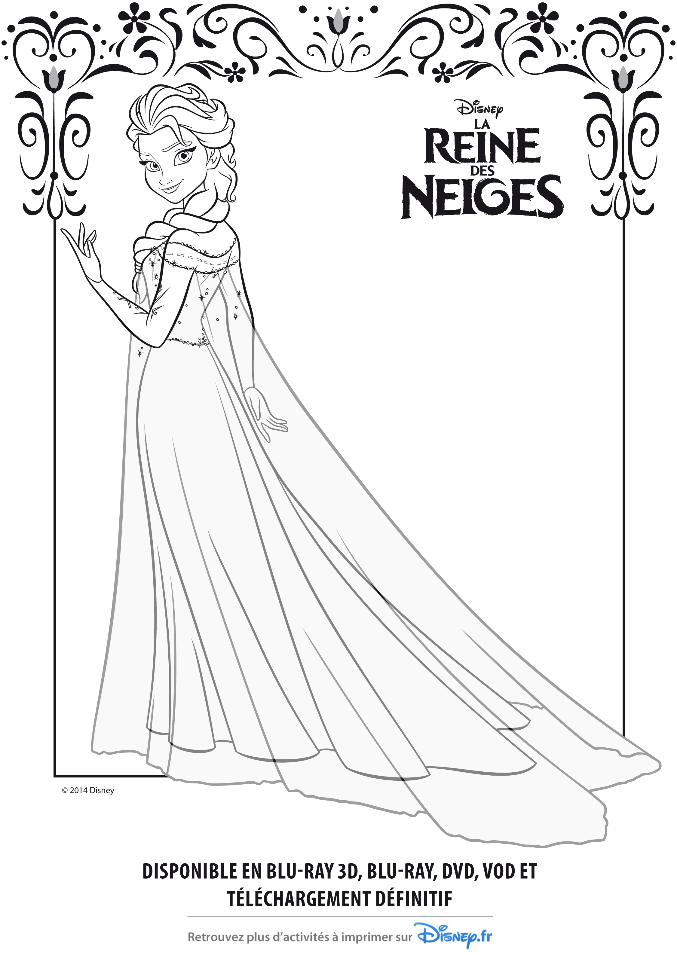 Coloriage Officiel De La Reine Des Neiges- Elsa A Imprimer serapportantà Reine Des Neige A Colorier