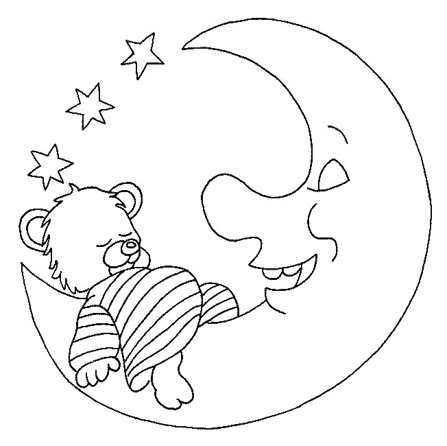 Coloriage Ourson En Train De Dormir Sur La Lune Dessin destiné Coloriage D Ourson A Imprimer