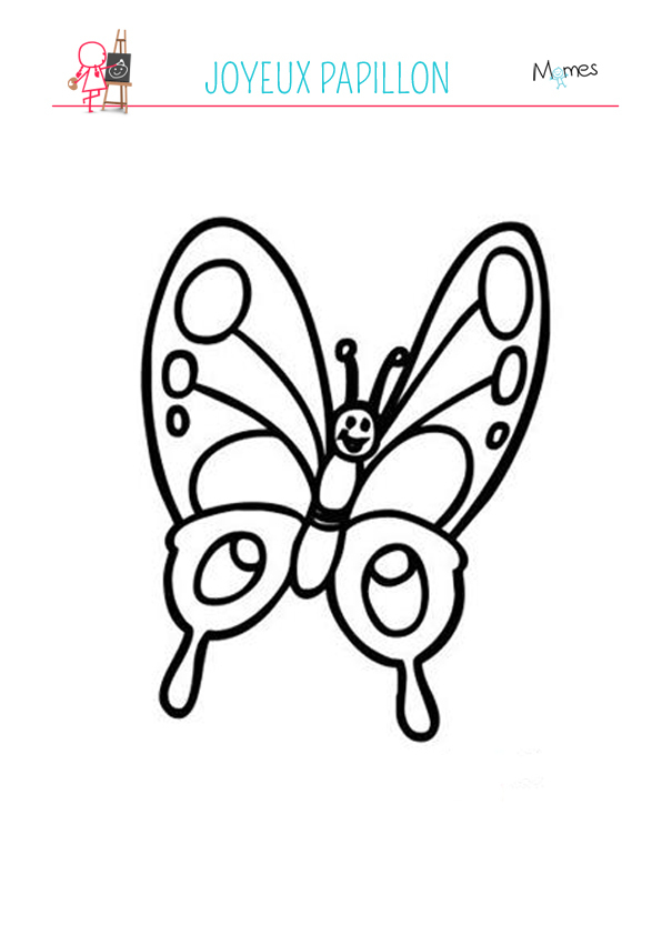 Coloriage Papillon Souriant - Momes serapportantà Dessin Petit Papillon