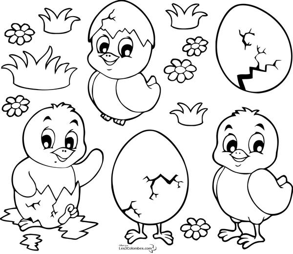 Coloriage Paques - Page 3 avec Oeufs De Paques À Colorier