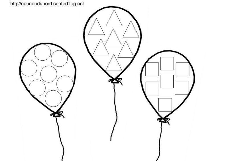 Coloriage Par 3 Ballons, À Gommettes, En Couleur serapportantà Dessin Ballon Baudruche