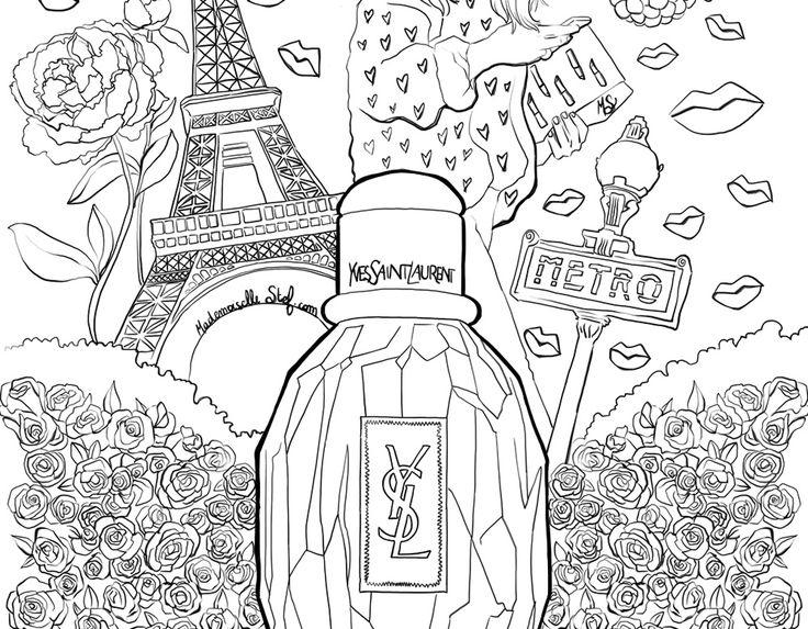 Coloriage : Parfum Parisienne Yves Saint Laurent I pour Coloriage Styl? ? Imprimer