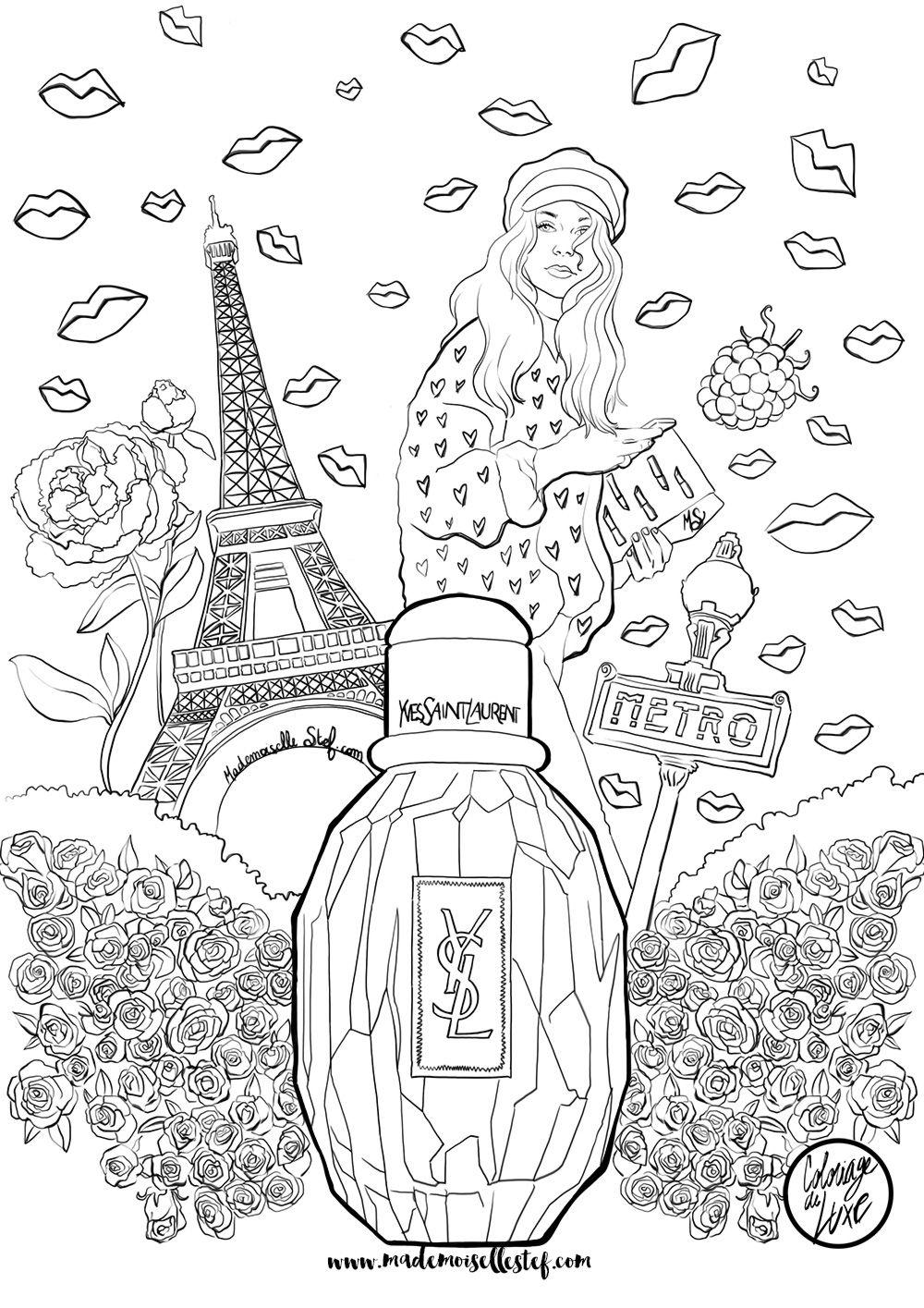 Coloriage : Parfum Parisienne Yves Saint Laurent I serapportantà Book Coloriage