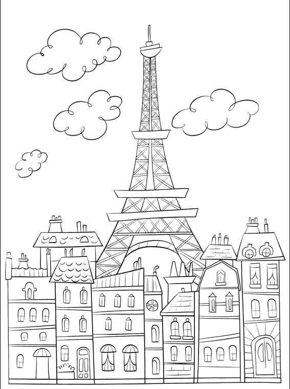 Coloriage Paris Et Tour Eiffel | Coloriage Paris avec Dessiner La Tour Eiffel