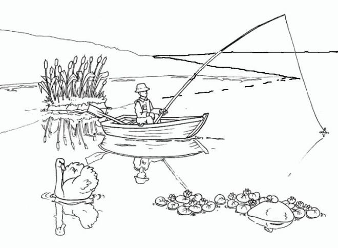 Coloriage Paysage De Pêche Dessin Gratuit À Imprimer encequiconcerne Dessiner Un Bateau De Peche