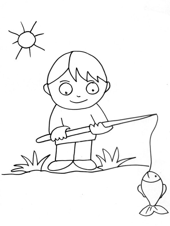 Coloriage Pêcheur Gratuit Dessin Gratuit À Imprimer concernant Dessiner Un Bateau De Peche
