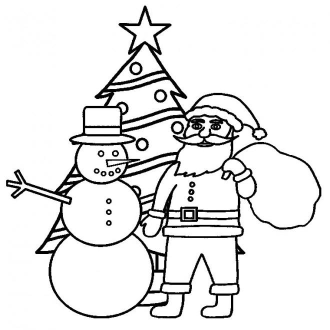 Coloriage Père Noël Et Le Sapin Dessin Gratuit À Imprimer intérieur Coloriage De Sapin De Noel A Imprimer Gratuit
