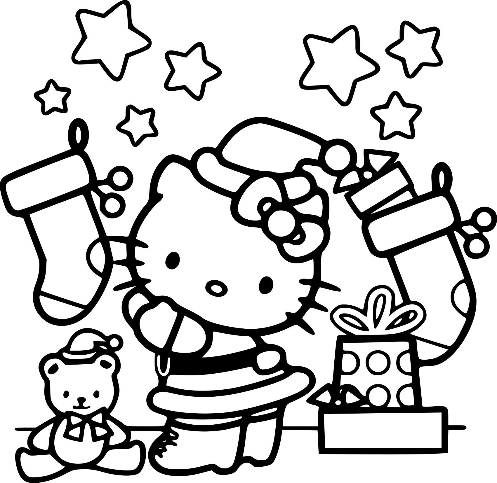 Coloriage Père Noël Hello Kitty À Imprimer Sur Coloriages intérieur Dessin Hello Kitty À Imprimer
