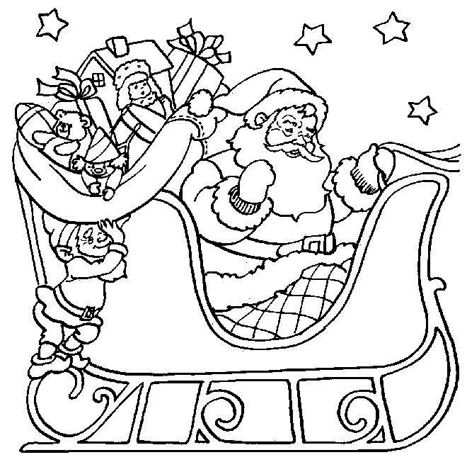 Coloriage Père Noel Sur Son Traîneau destiné Coloriage Père Noel Gratuit À Imprimer