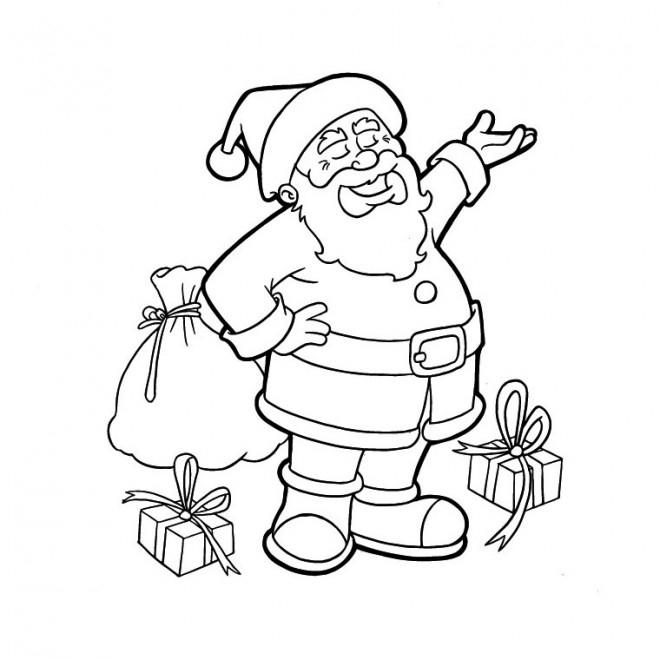 Coloriage Père Noël Vecteur Dessin Gratuit À Imprimer intérieur Dessin De Noel A Imprimer Gratuit