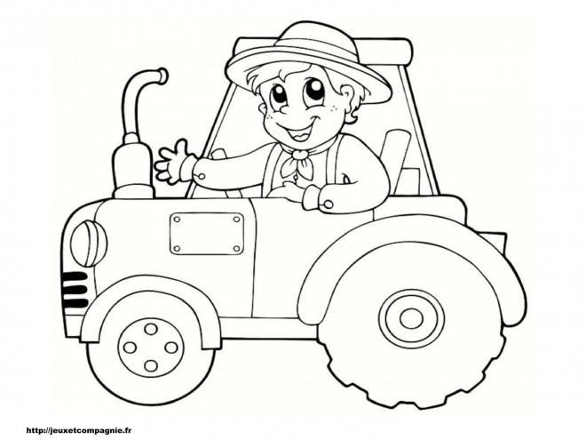 Coloriage Petit Enfant Sur Tracteur Dessin Gratuit À Imprimer concernant Coloriage De Tracteur À Imprimer